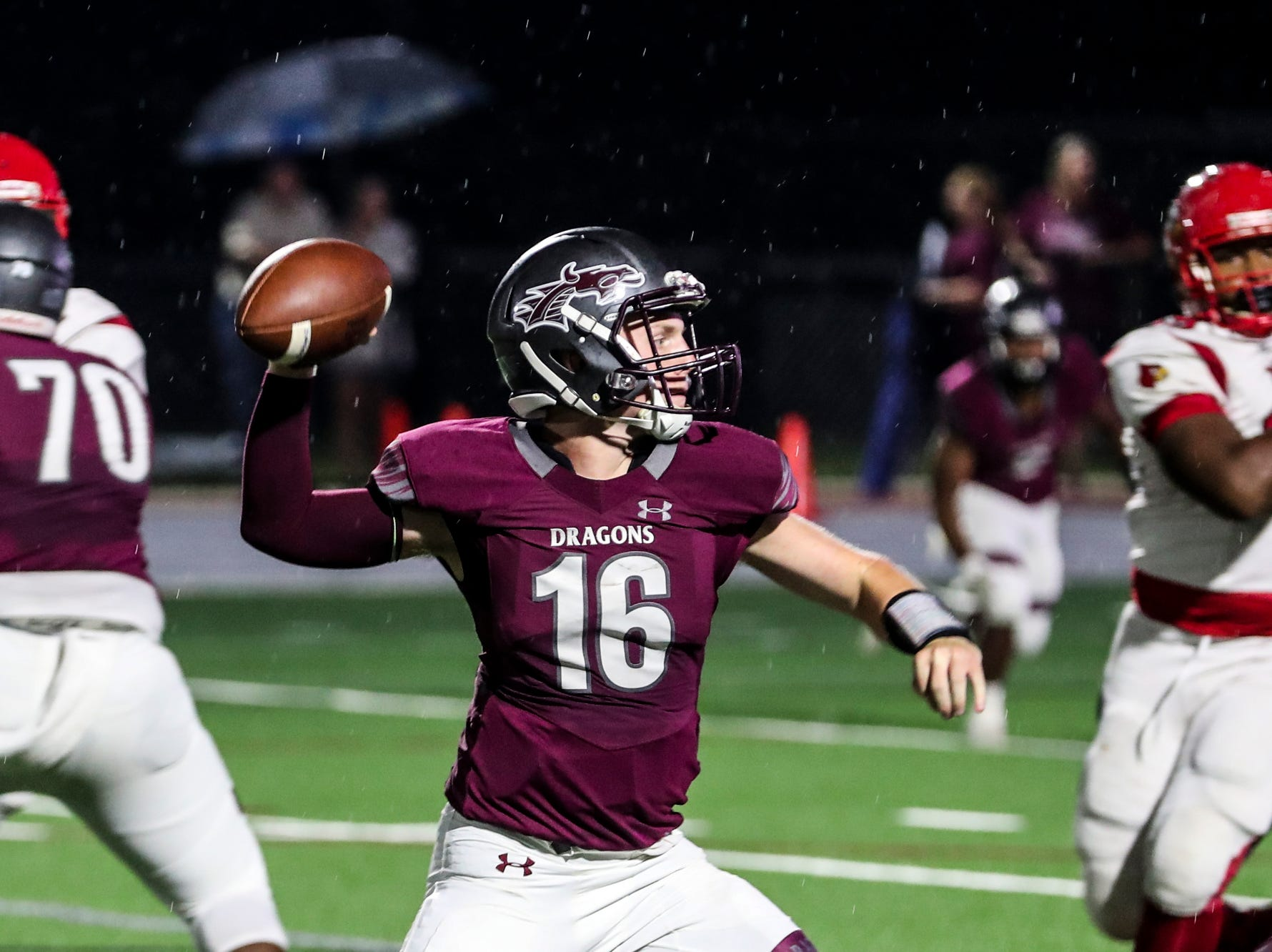 September 21 2018 - Collierville's Mitch Austin throws the ball during Friday night's game versus Wooddale at Collierville High School.