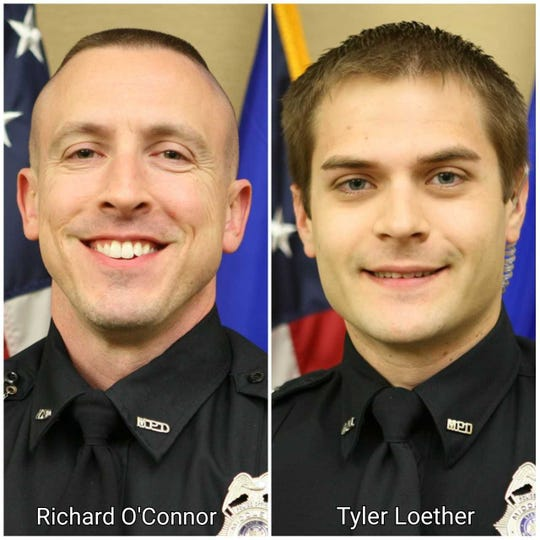 Middleton Police Officers Richard O'Connor (left) and Tyler Loether fired their weapons during a shootout Wednesday with gunman Anthony Y. Tong at WTS Paradigm.