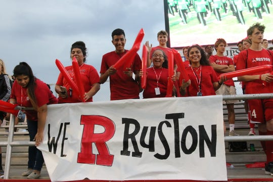 Ruston student show support for their high school during a home football game last season.