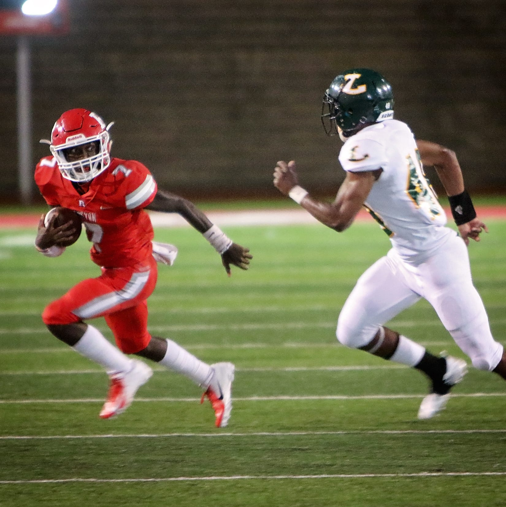 "The Longview (Texas) Lobos visited L.J. ""Hoss"" Garrett Stadium to take on the Ruston Bearcats Friday night in Ruston, September 21."
