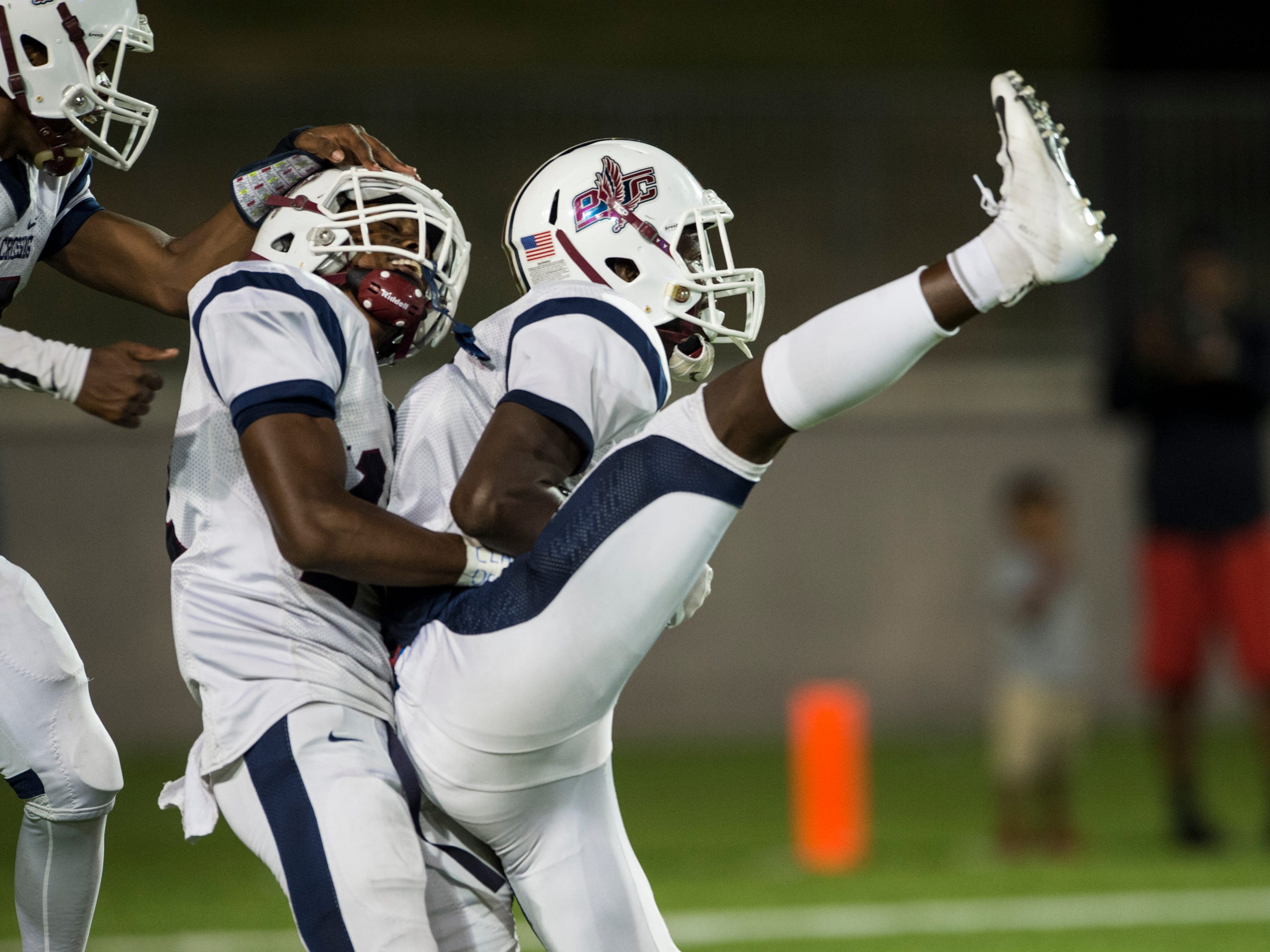 Park Crossing's Grant Dubose (2) celebrates after catching a touchdown pass at Cramton Bowl in Montgomery, Ala., on Friday, Sept. 21, 2018. Lanier defeated Park Crossing 35-28.
