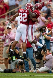 Alabama wide receiver Henry Ruggs, III, (11) and tight end Irv Smith Jr. (82) celebrate Ruggs touchdown against Texas A&M in second half action in Tuscaloosa, Ala., on Saturday September 22, 2018.