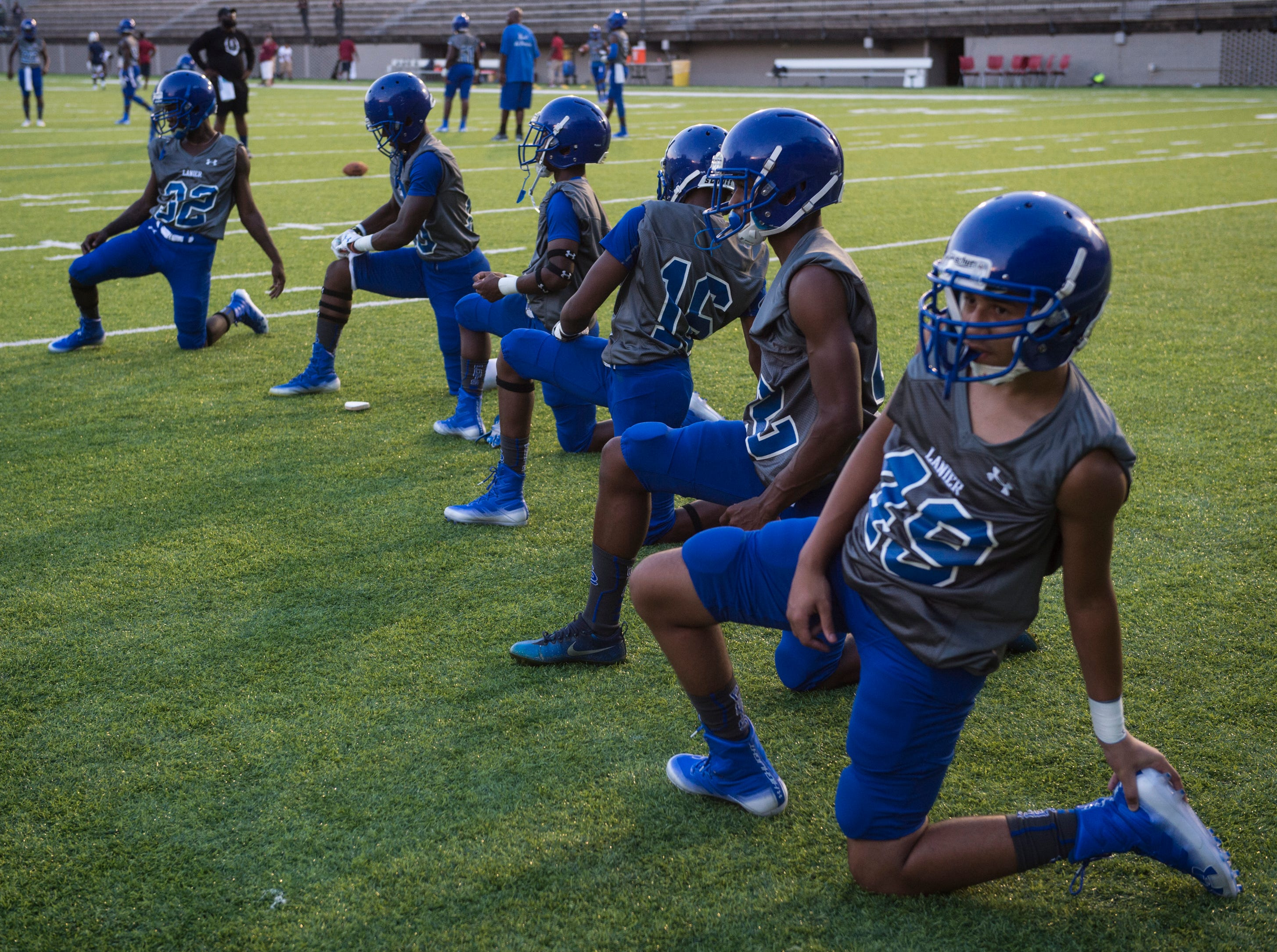 Lanier players warm up before taking on Park Crossing at Cramton Bowl in Montgomery, Ala., on Friday, Sept. 21, 2018. Lanier leads Park Crossing 14-7 at halftime.