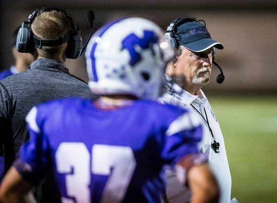 Central coach Scott Pethtel during the game against Kokomo at Central Friday, Sept. 21, 2018.