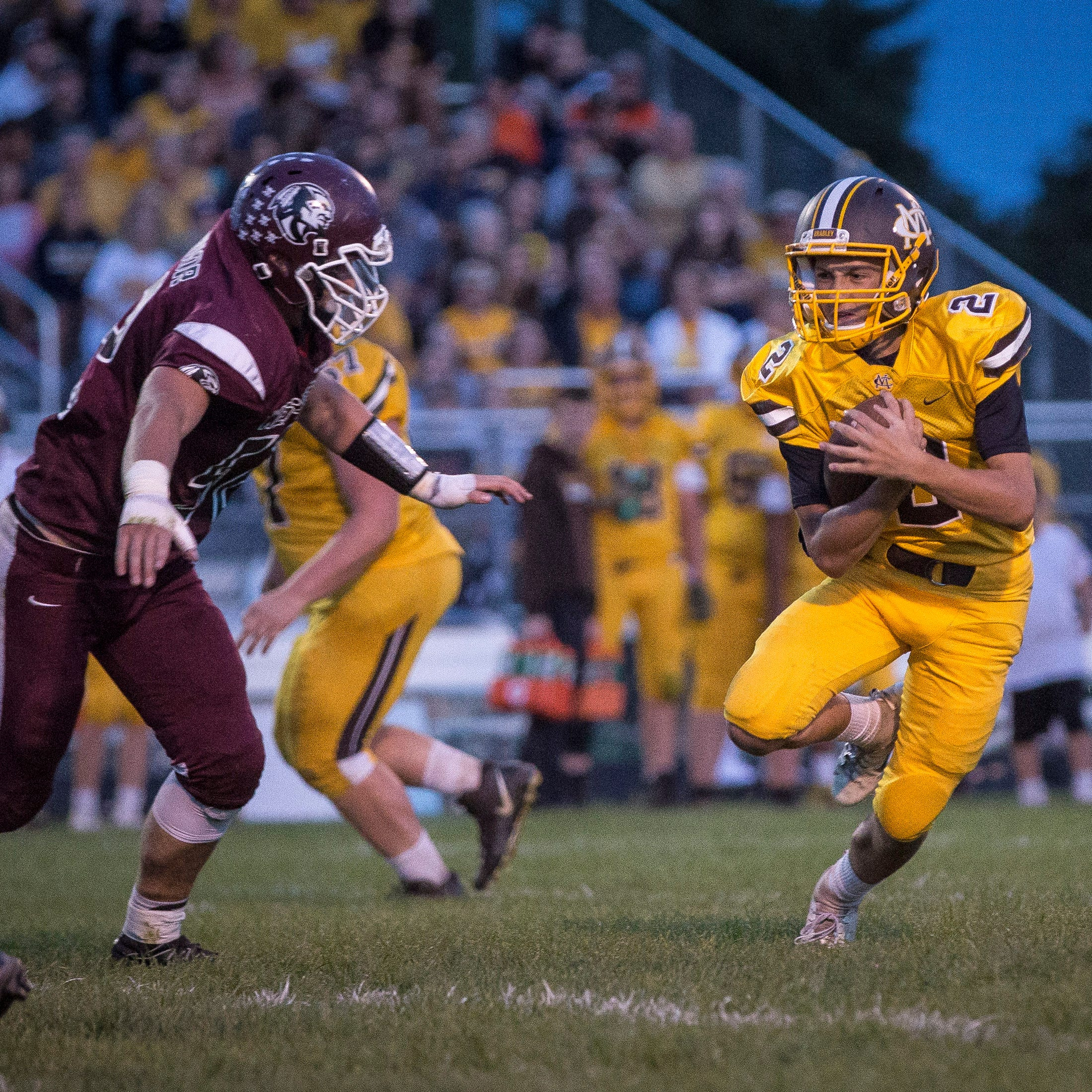 Monroe Central beat Wes-Del with a final score of 34-8 on Friday night at Wes-Del High School for the Harvest Helmet Classic.