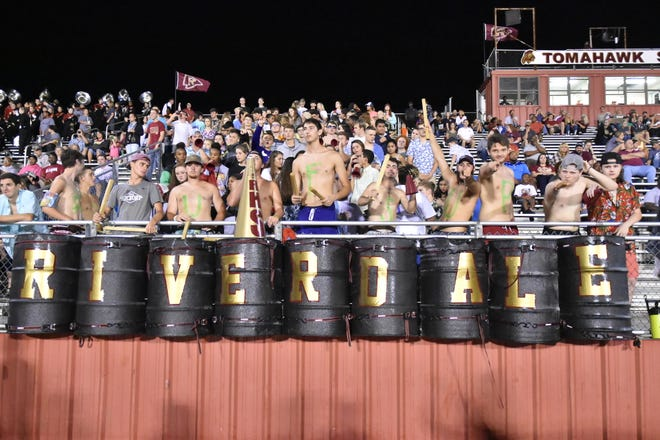 Riverdale's student section cheers on the Warriors during a recent game. The Warriors will battle at Blackman for the No. 2 seed in 3-6A on Friday.