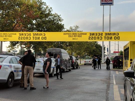 Scenes outside an Exxon gas station outside the Nissan Stadium along Shelby Avenue.