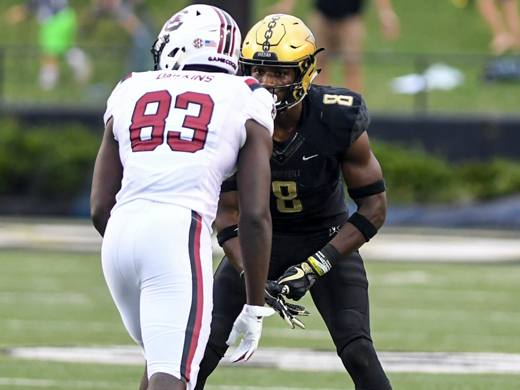 Vanderbilt cornerback Joejuan Williams (8) guards South Carolina wide receiver Chavis Dawkins (83) before the snap during their game, Saturday, September 22.