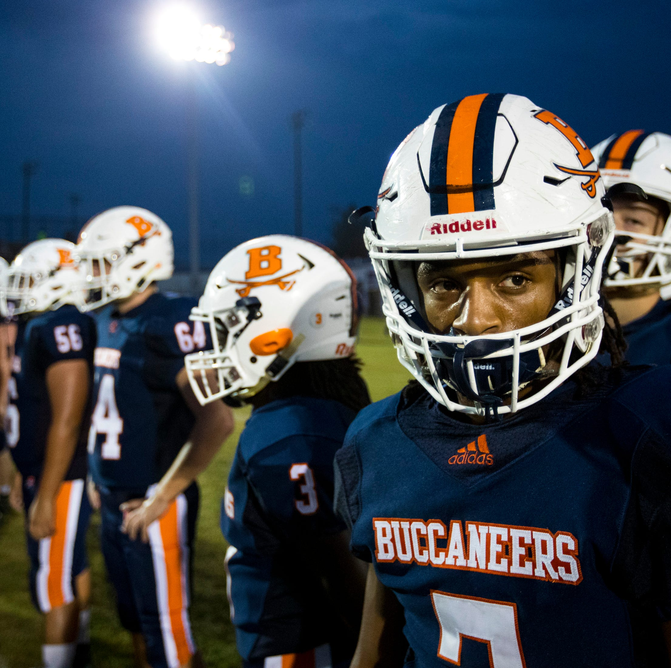 Beech's Ja'Sean Parks (7) looks towards the sidelines before Beech's game against Springfield at Beech High School in Hendersonville on Friday, Sept. 21, 2018.
