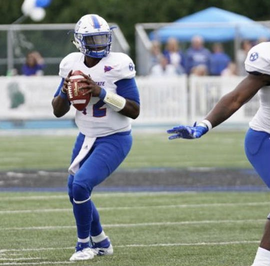 Former Hillsboro quarterback Michael Hughes did not start, but came in during the first quarter and gave Tennessee State's offense a lift.