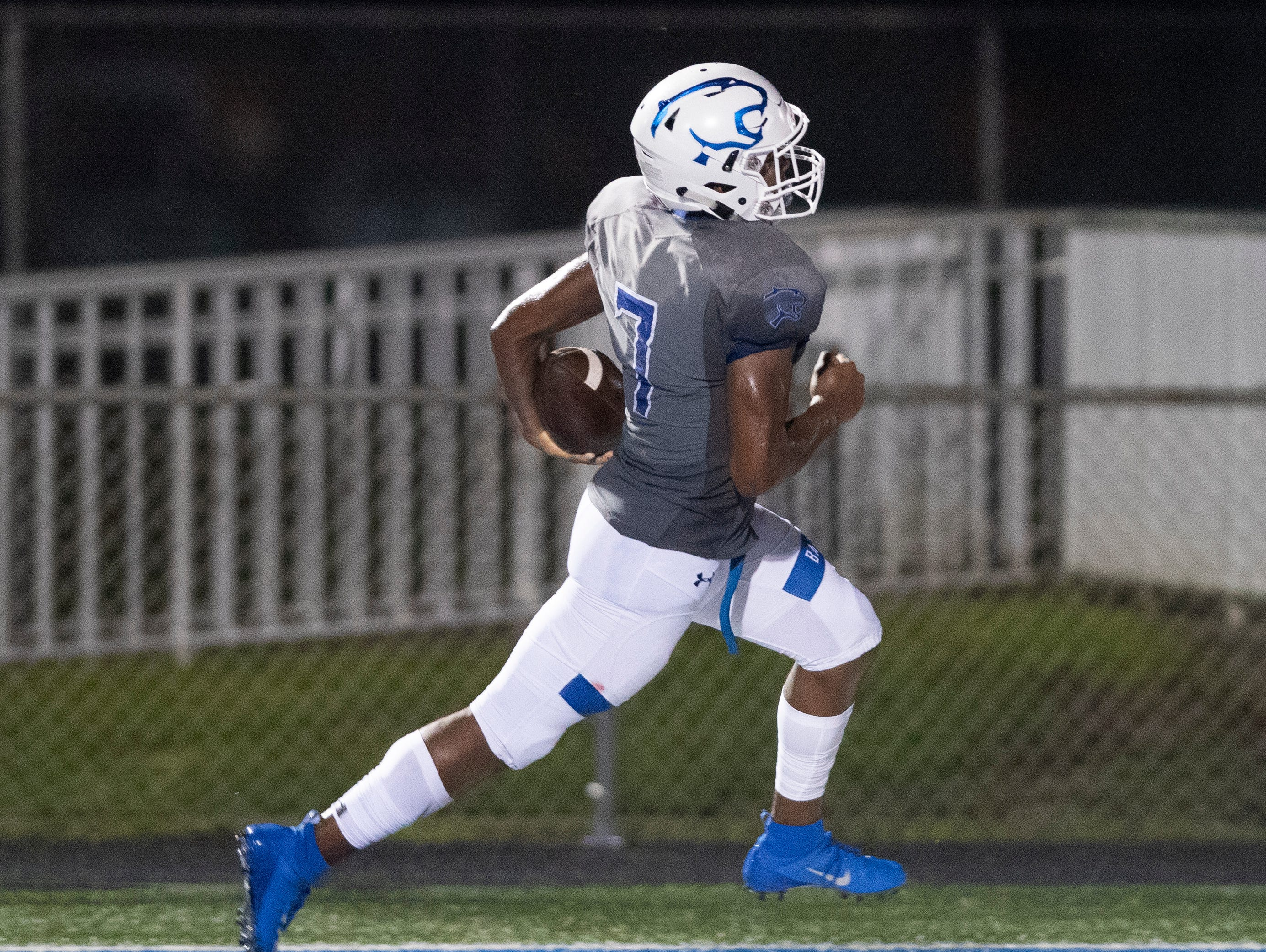 Jayden Rolle of Barron Collier runs into the end zone for a touchdown during the game against Mariner at Barron Collier High Friday night, September 21, 2018.
