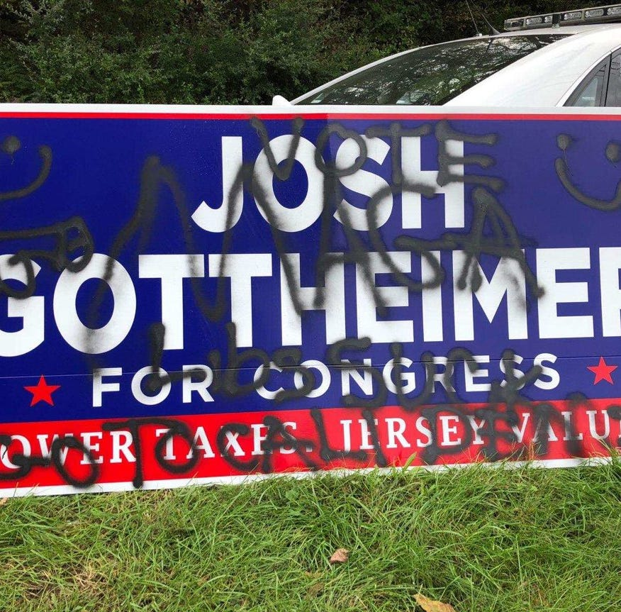 Swastikas painted on Josh Gottheimer campaign sign in Sussex County