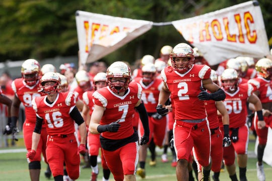 Don Bosco at Bergen Catholic on Saturday, September 22, 2018. Bergen Catholic takes the field before the start of the game.