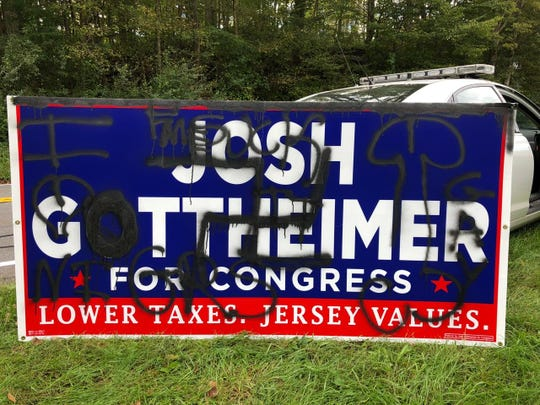A Josh Gottheimer campaign sign defaced in Hampton Township.