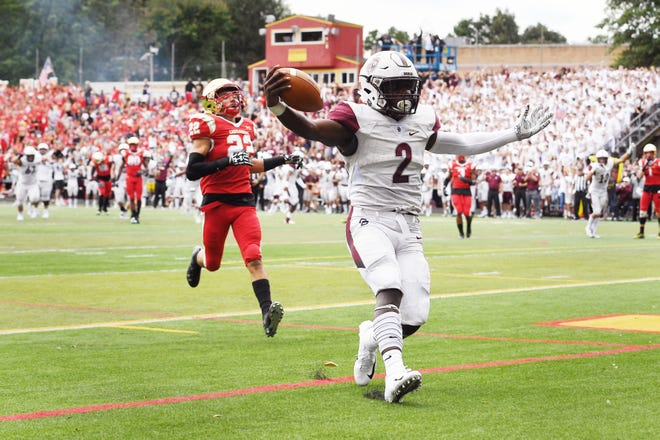 Don Bosco at Bergen Catholic on Saturday, September 22, 2018. DB #2 Kyle Monangai scores a touchdown in the second quarter.