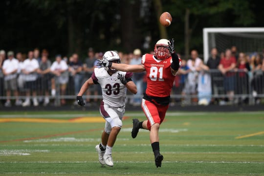 Don Bosco at Bergen Catholic on Saturday, September 22, 2018. BC #81 Tyler Devera reaches for a pass in the second quarter.