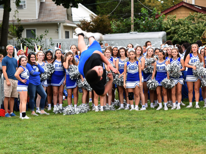 Hawthorne H.S. cheerleader Vinny Morano execute a summersault Hawthorne Day -Blondie Lookalike