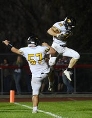 West Milford at Lakeland on Friday, September 21, 2018. WM #19 Ryan Coyle celebrates after scoring a touchdown in the fourth quarter.
