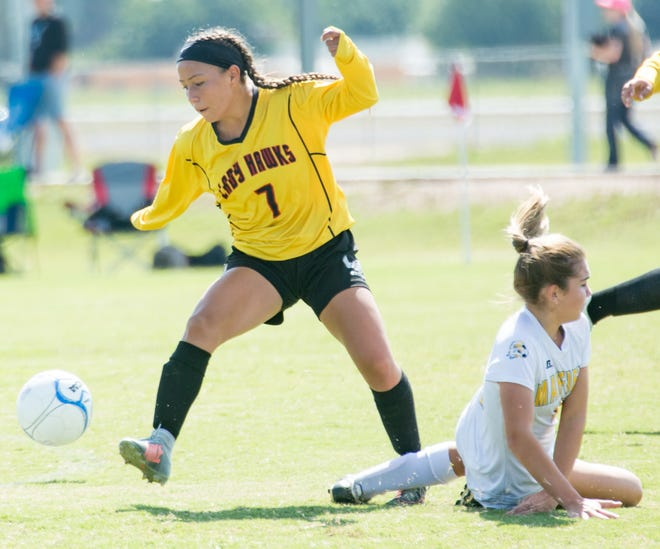 Kayla Reynaud (7) and the Centennial Hawks received the No. 1 seed for the Class 5A state girls soccer tournament.