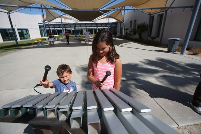 Two children make music at the Children's Discovery Museum in Rancho Mirage on September 22, 2018.