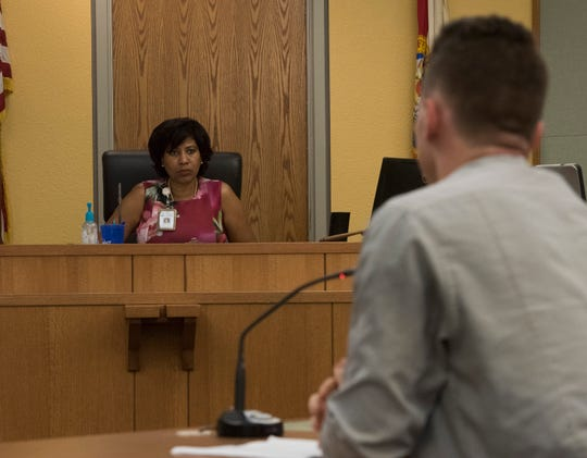 Teen Court coordinator Melenie McNamara presides over official proceedings during its weekly session on Tuesday, Sept. 18, 2018.