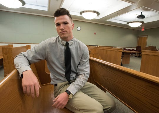 Gabriel Lowery, 17, volunteers as a juror at Teen Court in Escambia County on Tuesday, Sept. 18, 2018. Lowery completed Teen Court after a run-in with the law and now has plans to join the military.