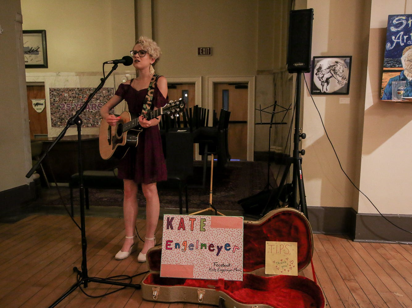 Kate Engelmeyer performs inside of Artel Gallery during Gallery Night on Friday, Sept. 21, 2018.