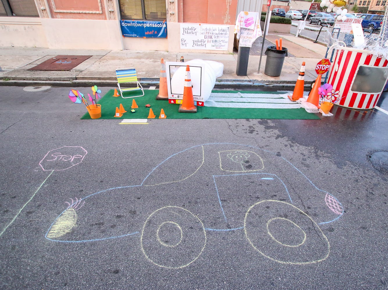 One of the PARK(ing) Day spots created during Gallery Night on Friday, Sept. 21, 2018.