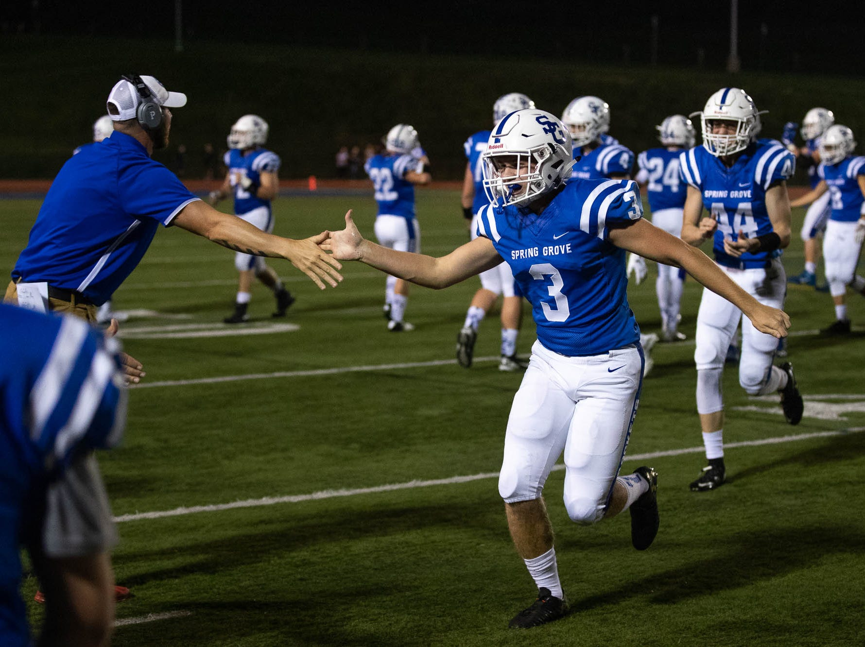 Spring Grove's Daniel Simpson (3) celebrates after Spring Grove retrieved the ball on a fumble during a football game between York High and Spring Grove, Friday, Sept. 21, 2018, in Spring Grove.