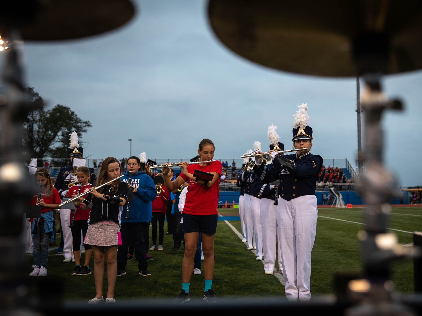 "Members of numerous grades of the Spring Grove School District band perform during ""band night"" before a football game between York High and Spring Grove, Friday, Sept. 21, 2018, in Spring Grove."