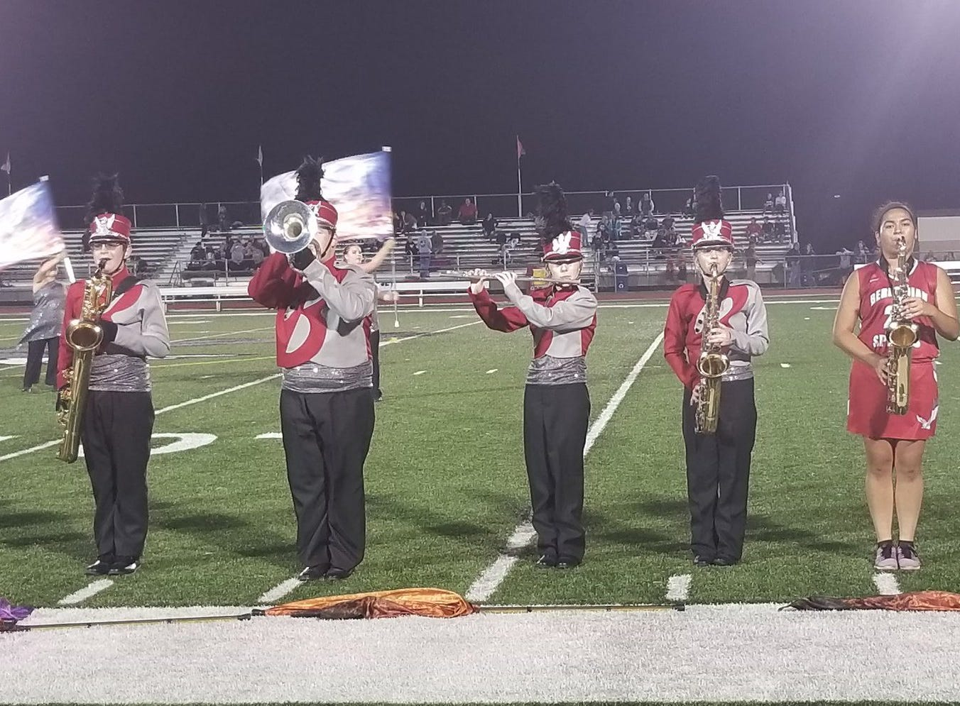 The Bermudian Springs band performs during halftime of the Eagles' game against Fairfield on Friday, Sept. 21, 2018.
