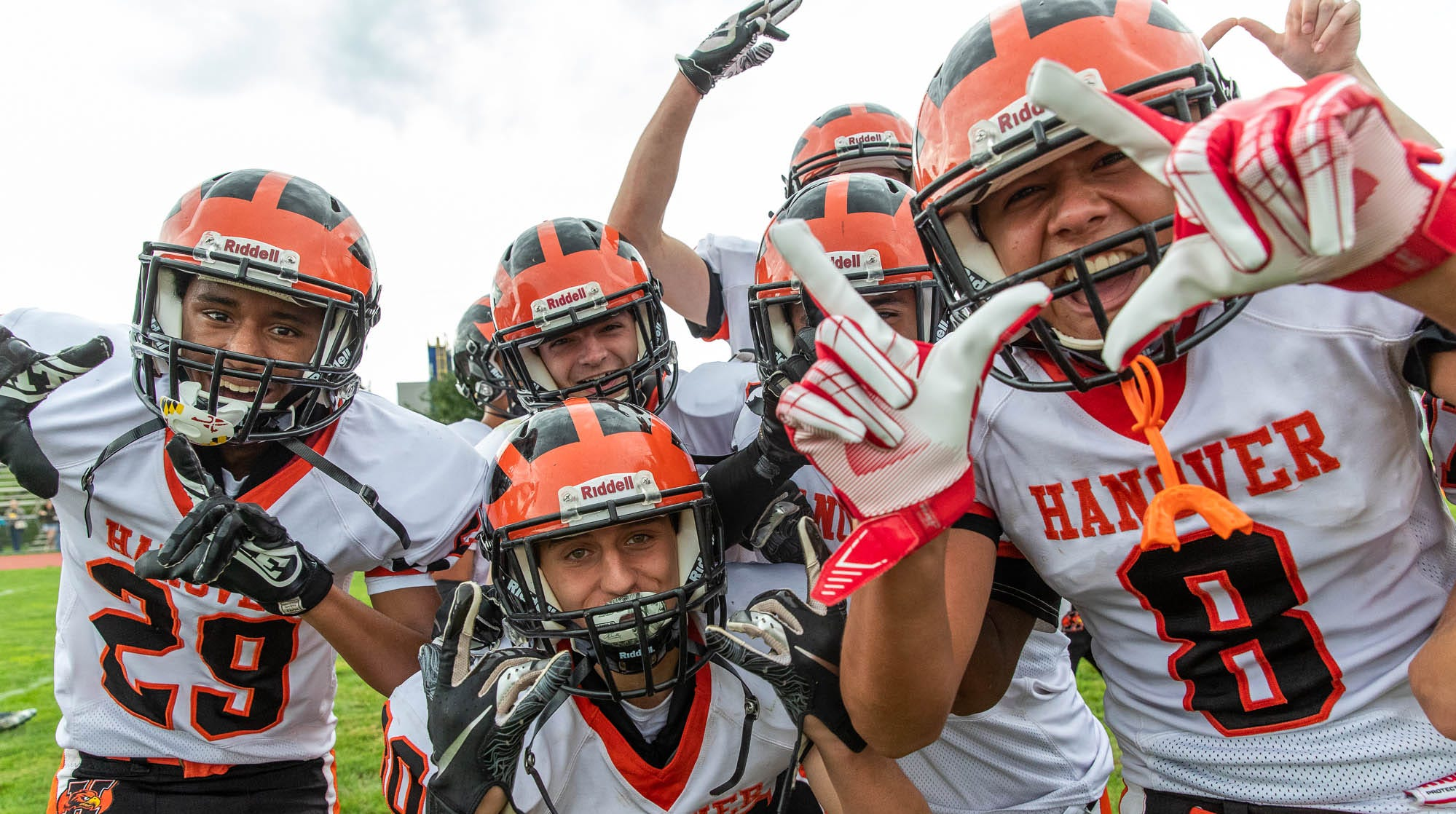 The Hanover Nighthawks celebrate their win against York Tech, Saturday, Sept. 22, 2018, at the York County School of Technology in York Township. The Nighthawks defeated the York Tech Spartans 44-12, giving Hanover their first win of the season.