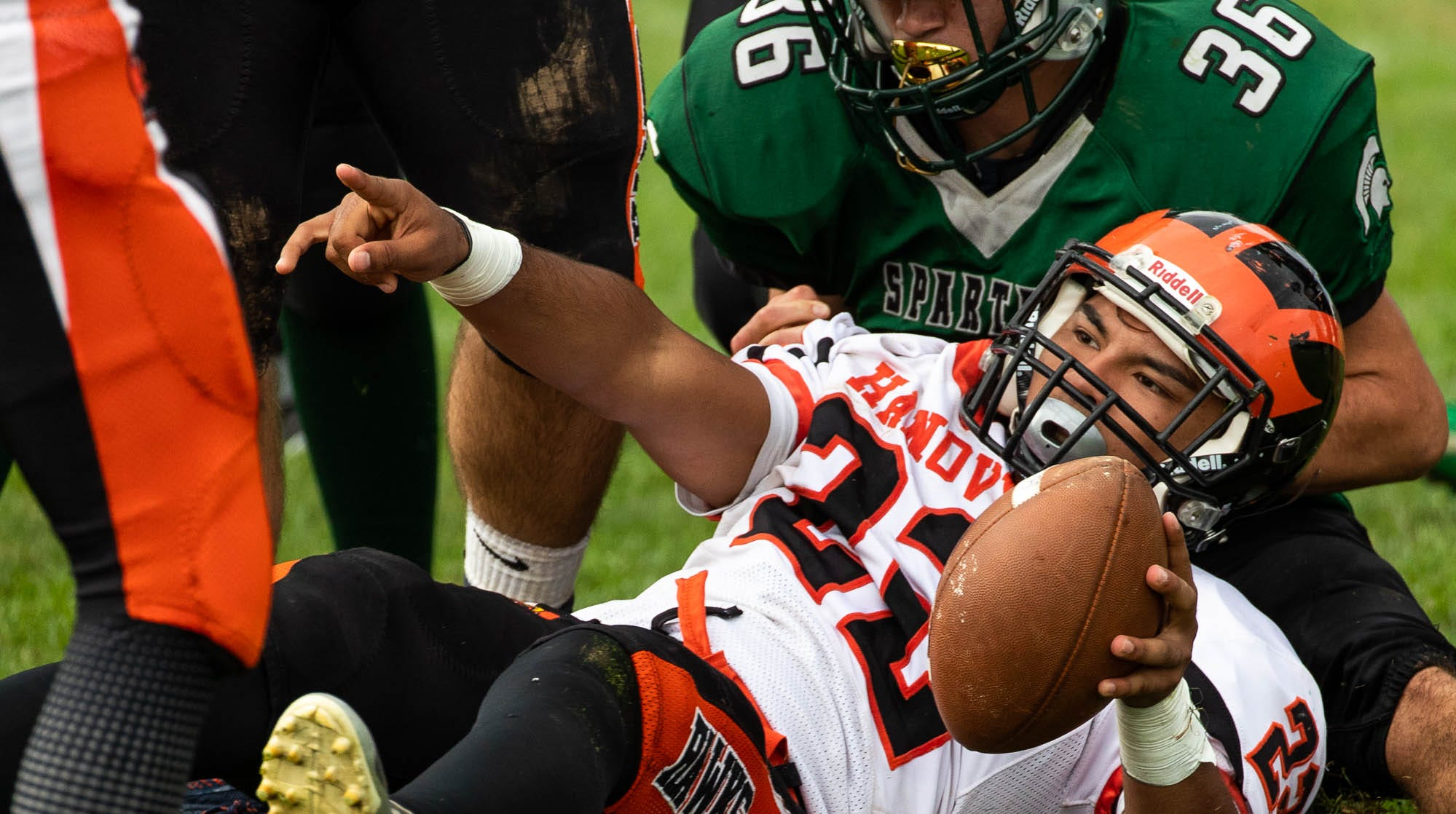 Hanover's Fabian Lara (22) is brought down on the goal line during a football game between Hanover and York Tech, Saturday, Sept. 22, 2018, at the York County School of Technology in York Township.