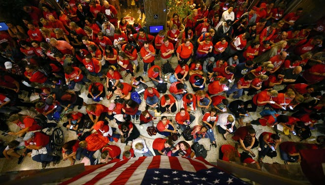 Teachers and other supporters fill the lobby of the state Senate during the fifth day of the Arizona teacher walkout on Wednesday night, May 2, 2018, at the Arizona Capitol in Phoenix.