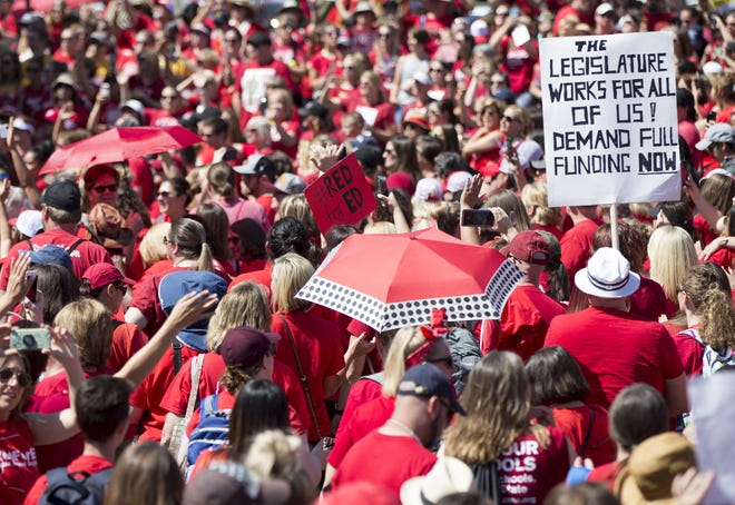 #RedForEd supporters gather at the state Capitol in Phoenix on May 3, 2018. The Arizona Legislature passed a state budget, including a teacher pay-raise plan.