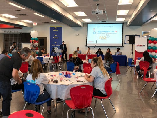 Students and panelists attend the Power of 18 event to learn more about increasing voter registration at South Mountain High School on Sept. 22, 2018.