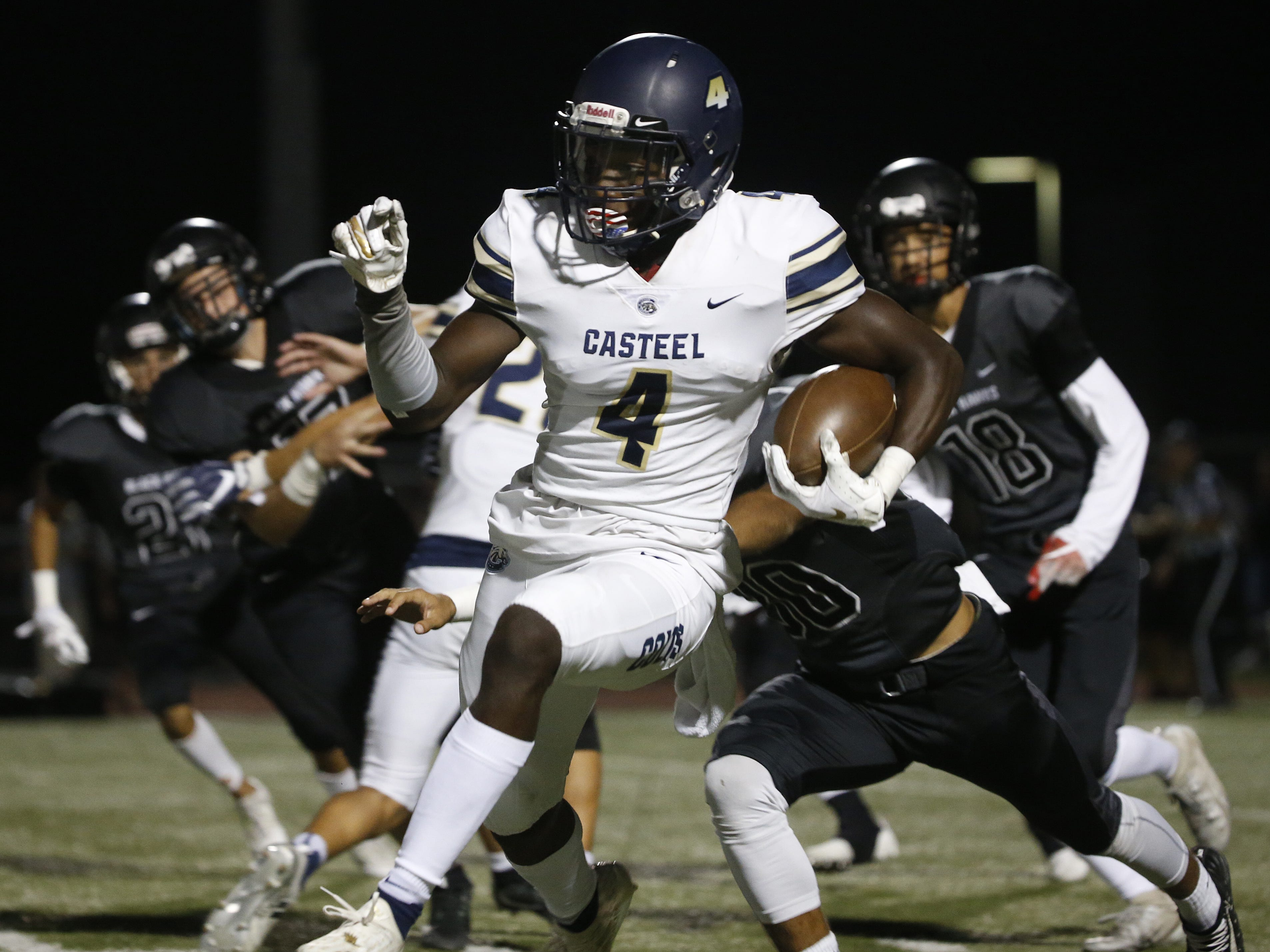 Casteel's Khyheem Waleed (4) returns a kick against Williams Field at Williams Field High School in Gilbert, Ariz. on Sept. 21, 2018.  #azhsfb