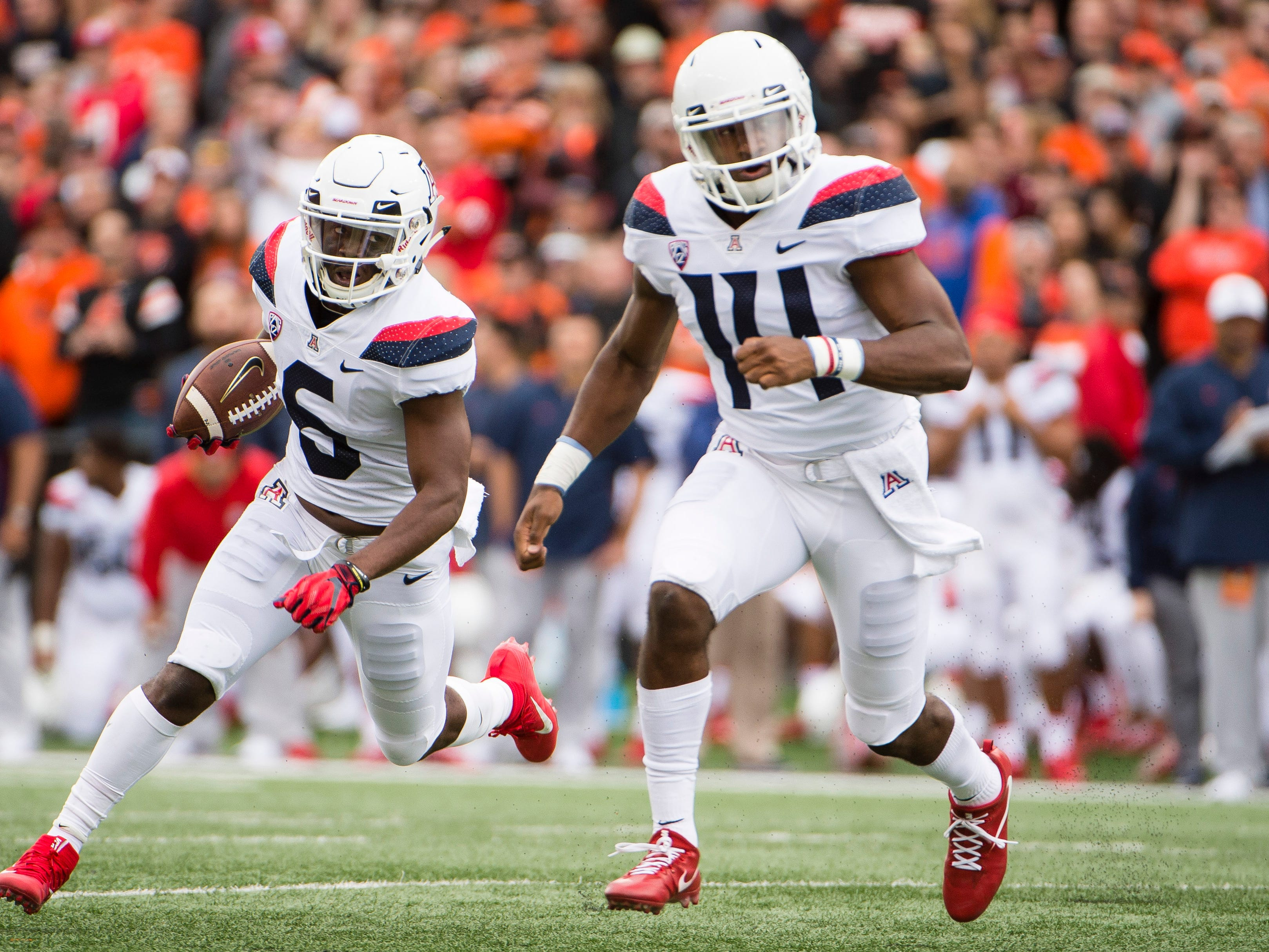 Sep 22, 2018; Corvallis, OR, USA; Arizona Wildcats wide receiver Shun Brown (6) runs for a touchdown during the first half as he is led by quarterback Khalil Tate (14) against the Oregon State Beavers at Reser Stadium.