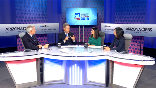 Republican U.S. Rep. David Schweikert (far left) faces his Democratic challenger Anita Malik (far right) in a debate hosted by Arizona PBS and The Arizona Republic on Sept. 21, 2018.