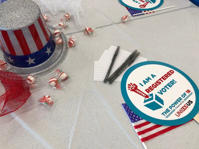 Table decorations at the Power of 18 event where students learned how to encourage other peers to vote at South Mountain High School on Sept. 22, 2018.
