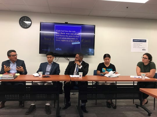 From left to right: Daniel Ortega, Uriel Garcia, Benjamin Taylor, Viri Hernandez and Kathy Brody discuss how Valley police departments investigate excessive-force cases.