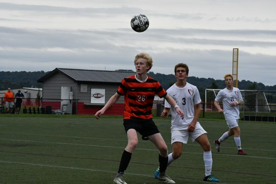 TJ Caton (26) helped Palmyra to a first round upset of top-seeded Manheim Township in the 4A district playoffs.