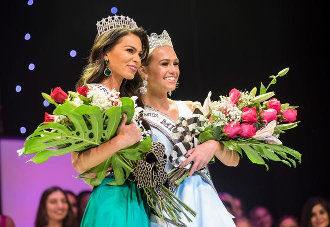 Miss Michigan USA Alyse Madej, of Garden City, left, and Miss Michigan Teen USA Alexis Lubecki pose for a photo after being crowned Saturday, Sept. 22, 2018 in the Miss Michigan USA and Miss Michigan Teen USA pageants at McMorran Theater.