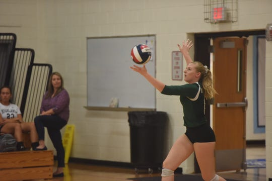 Spackenkill's Julieanne McKenn lines up for a serve during their Sept. 21 match against Highland.
