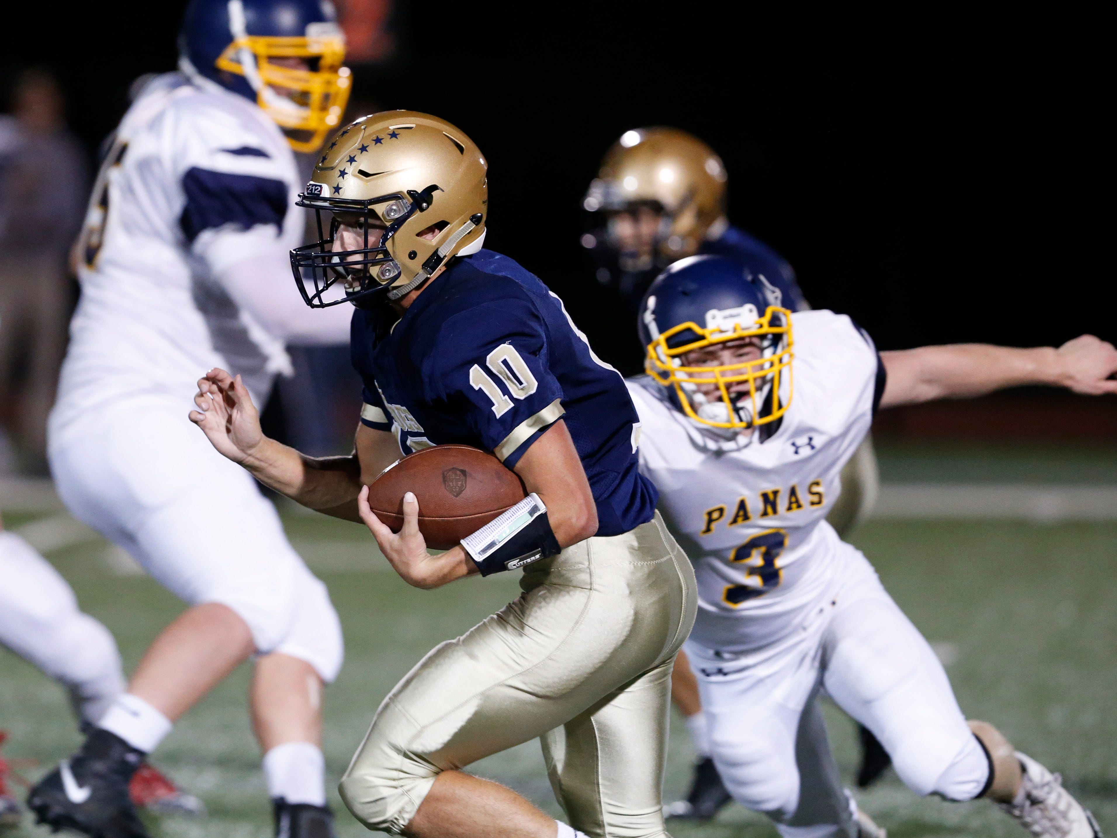 Lourdes' Max Kras breaks free for a run against the Walter Panas defense during a Sept. 21 game.