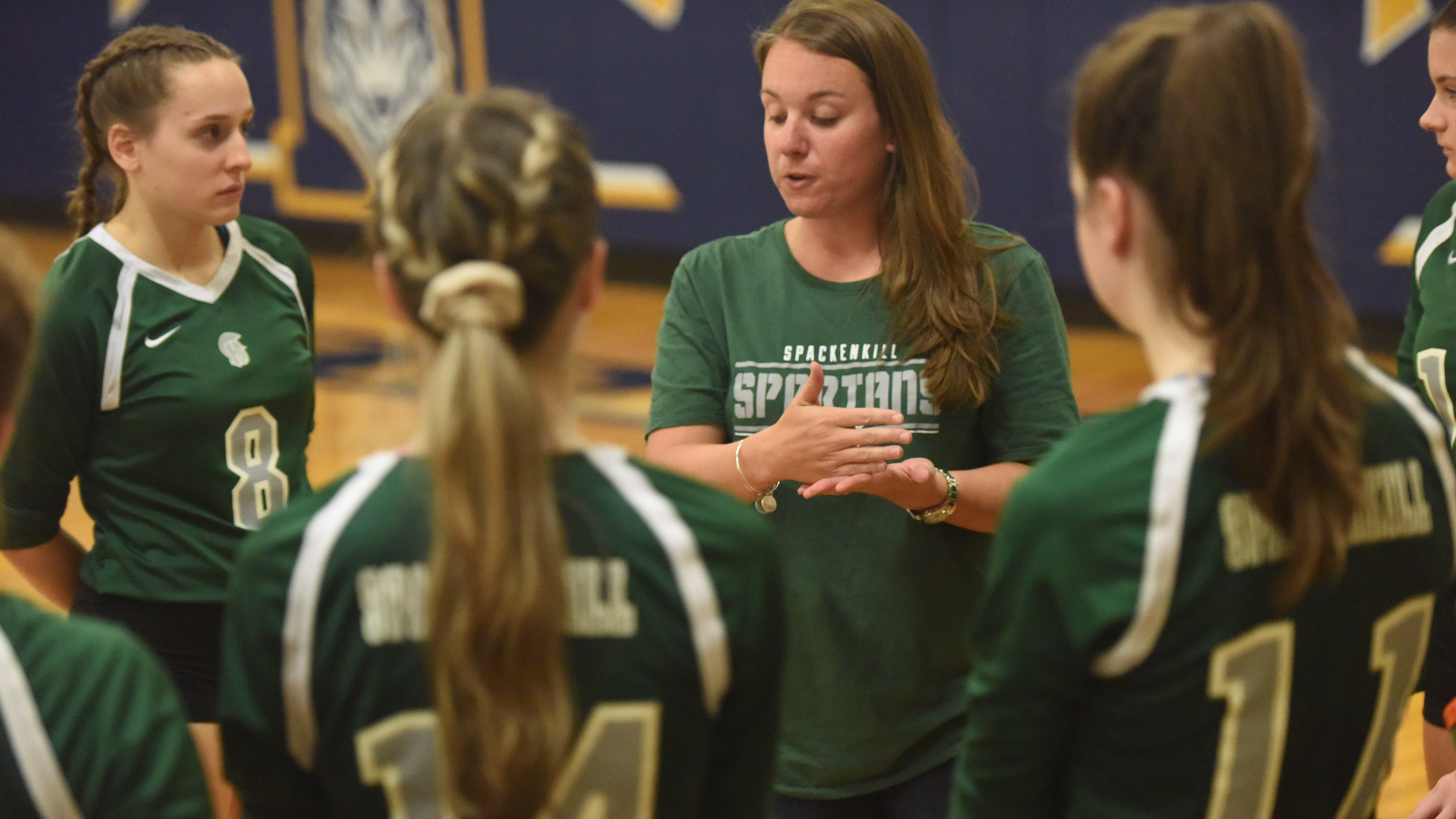 Cassi Diamond gives her Spackenkill team instructions in a timeout during Friday's match against Highland.