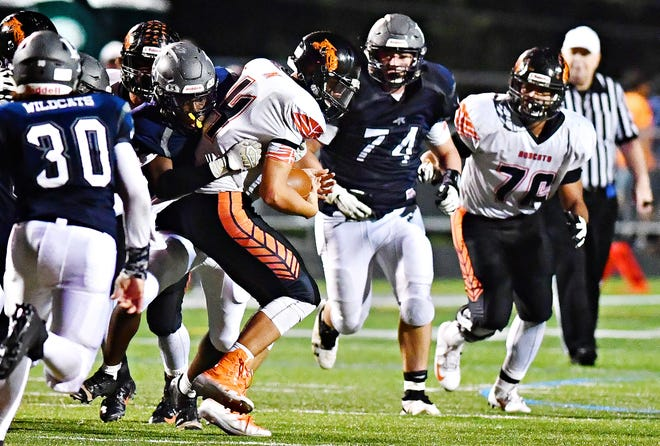 Dallastown defensive tackle Raymond Christas (74) runs to make a tackle in the Wildcats' 41-25 win over Northeastern last Friday. Dawn J. Sagert photo