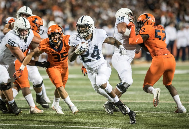 Penn State's Miles Sanders, seen here running the ball earlier this season vs. Illinois, may find some tough sledding this Saturday vs. Michigan State, which has the nation's top-ranked run defense. AP FILE PHOTO