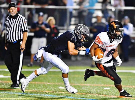 Northeastern running back Manny Capo, shown here in a game earlier this season, has replaced injured starter Frank Brown. Capo scored three touchdowns in the Bobcats' upset win over Red Lion two weeks ago. DISPATCH FILE PHOTO.