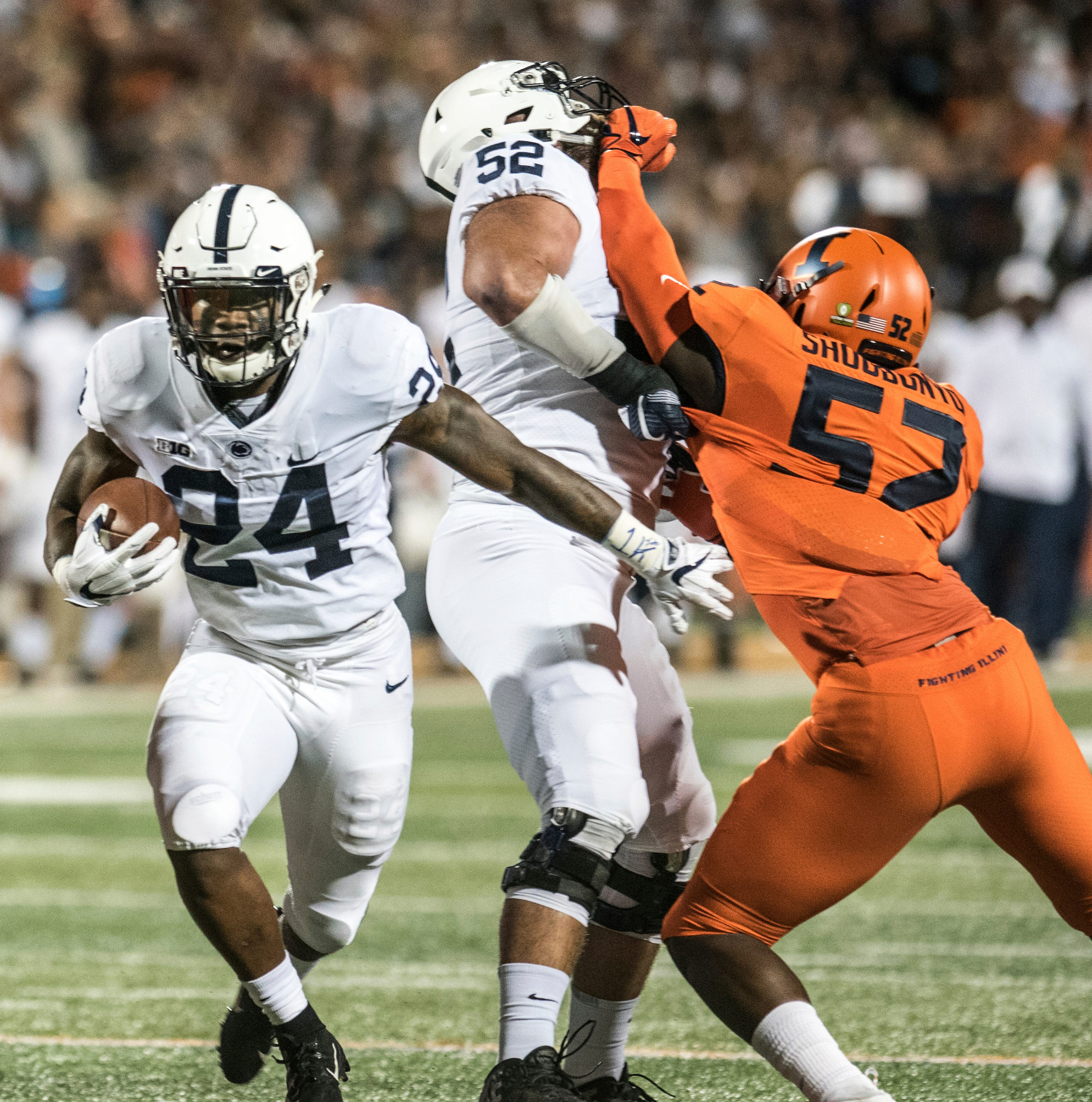 Penn State running back Miles Sanders (24) carries the ball against Illinois during the first half of an NCAA college football game Friday, Sept. 21, 2018, in Champaign, Ill. (AP Photo/Holly Hart)